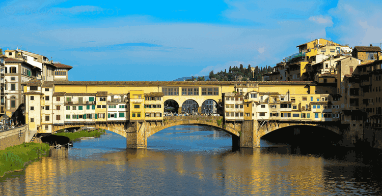 Arno River and cross the Ponte Vecchio Bridge